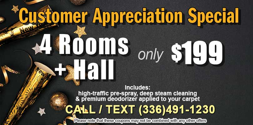 Customer Appreciation Special 4 Rooms and a Hall for $199